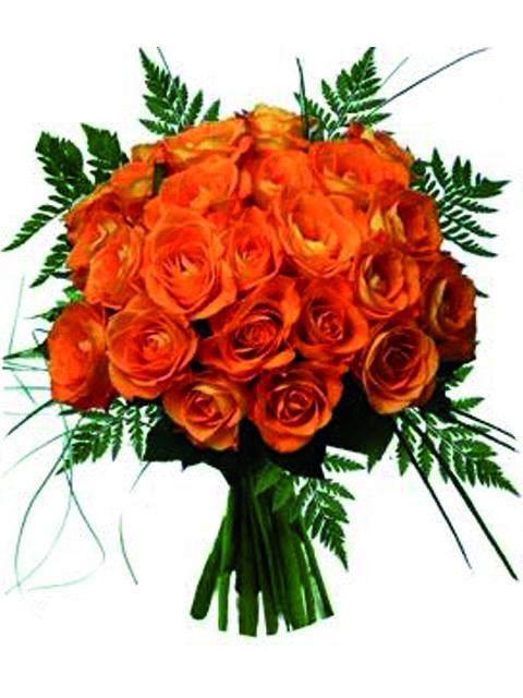 Bouquet di 24 rose arancioni a Roma