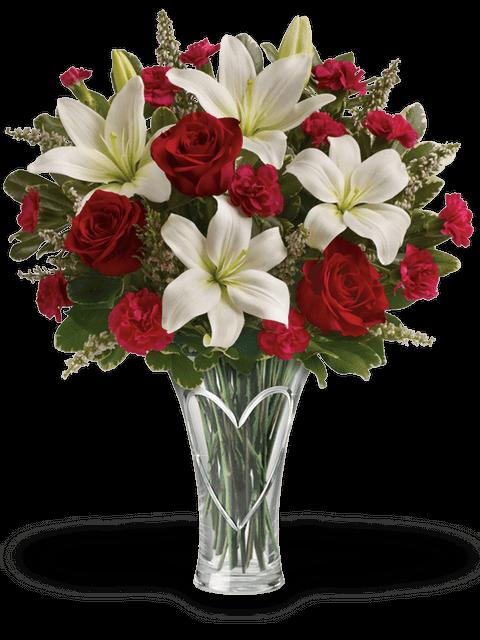 rose rosse garofani e lilium