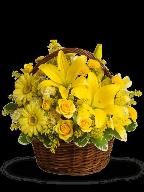 Cesto di lilium gerbere rose e fiori misti gialli a Roma