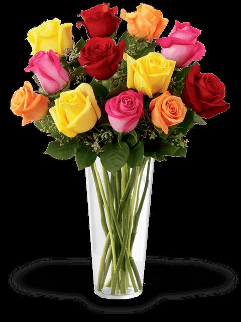 mazzo colorato di rose