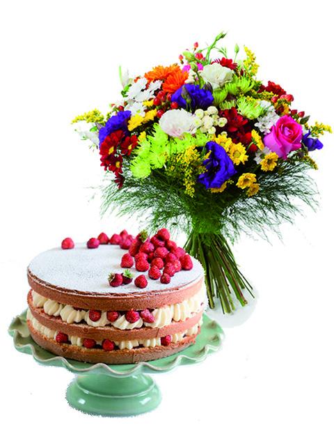 Bouquet di fiori misti con torta alle fragole a Roma