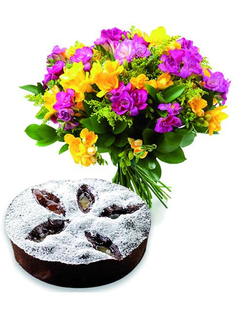 Mazzo lisiantus con torta cioccolato e pere a Roma
