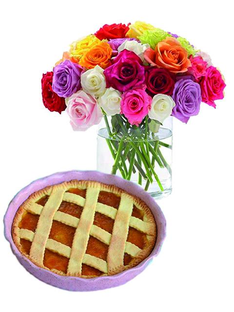 Bouquet di rose miste con crostata a Roma