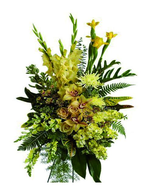 Cuscino funebre di fiori misti ed orchidee dai colori gialli a Roma