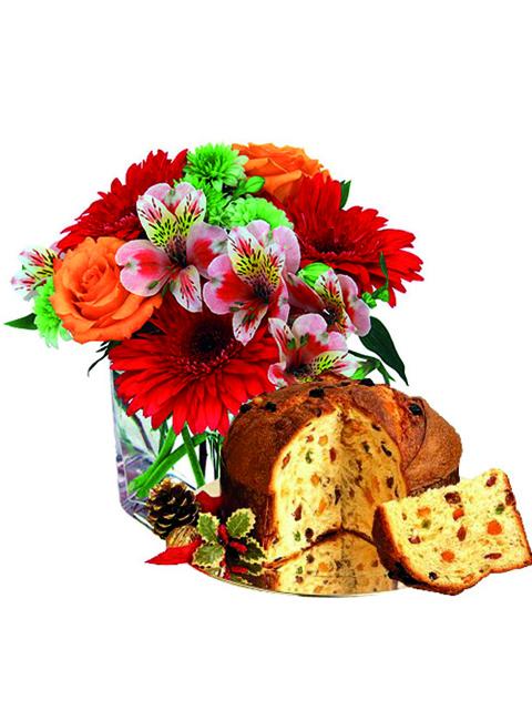 Bouquet di fiori misti e panettone a Roma