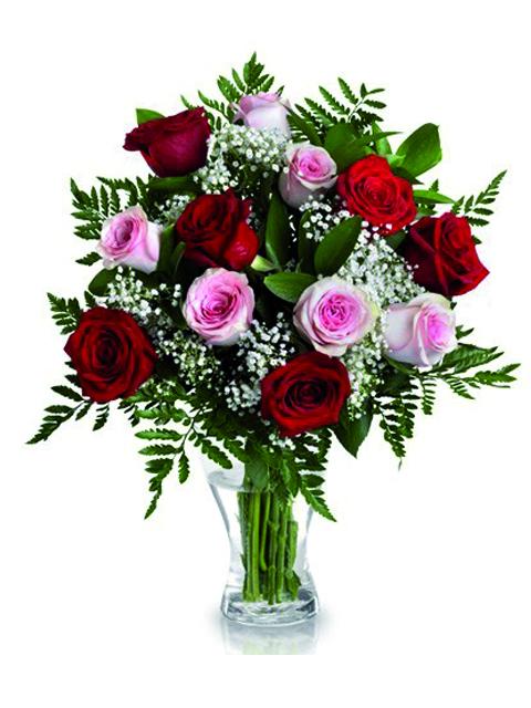 Bouquet di rose rosse e rosa a Roma