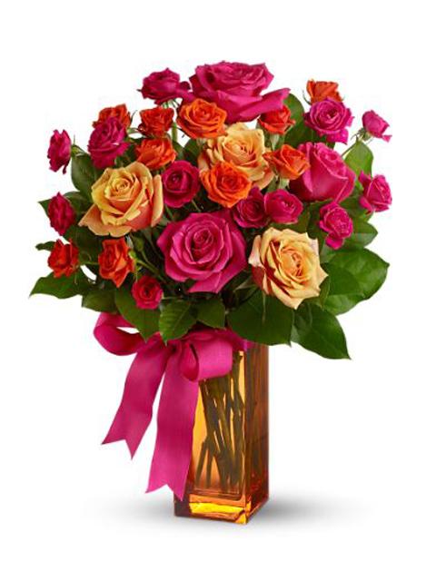 Bouquet di roselline dai toni rossi a Roma