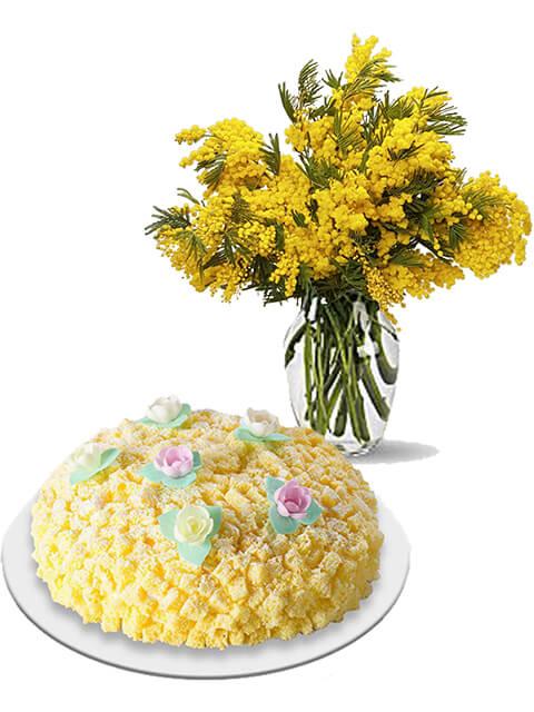 bouquet di omise con torta mimosa